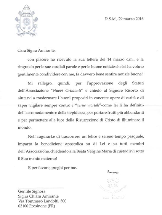 Lettera di Papa Francesco - Nuovi Orizzonti
