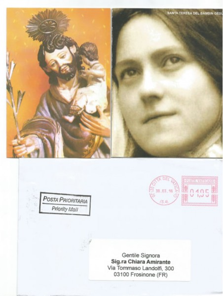 Busta della lettera di Papa Francesco - Nuovi Orizzonti