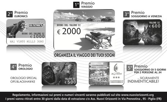 Premi Lotteria 2016 - Nuovi Orizzonti